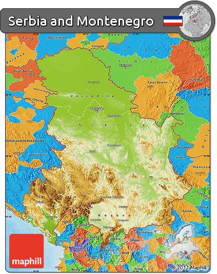 Free Physical Map of Serbia and Montenegro political outside