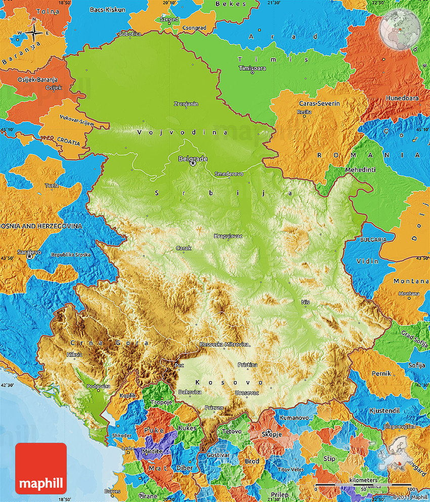 Physical Map of Serbia and Montenegro political outside