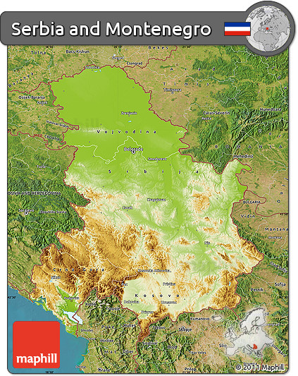 Free Physical Map of Serbia and Montenegro satellite outside