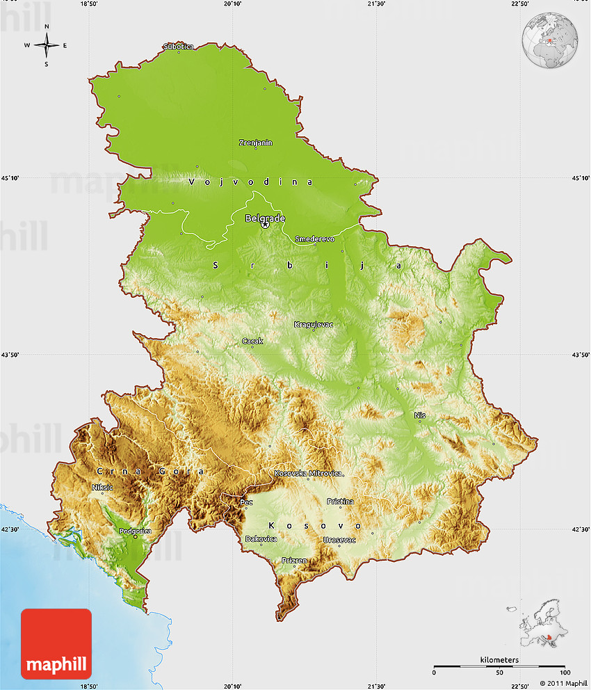 Physical Map of Serbia and Montenegro single color outside