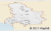 Classic Style Panoramic Map of Serbia and Montenegro, single color outside