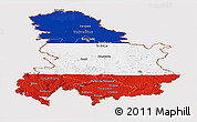 Flag Panoramic Map of Serbia and Montenegro