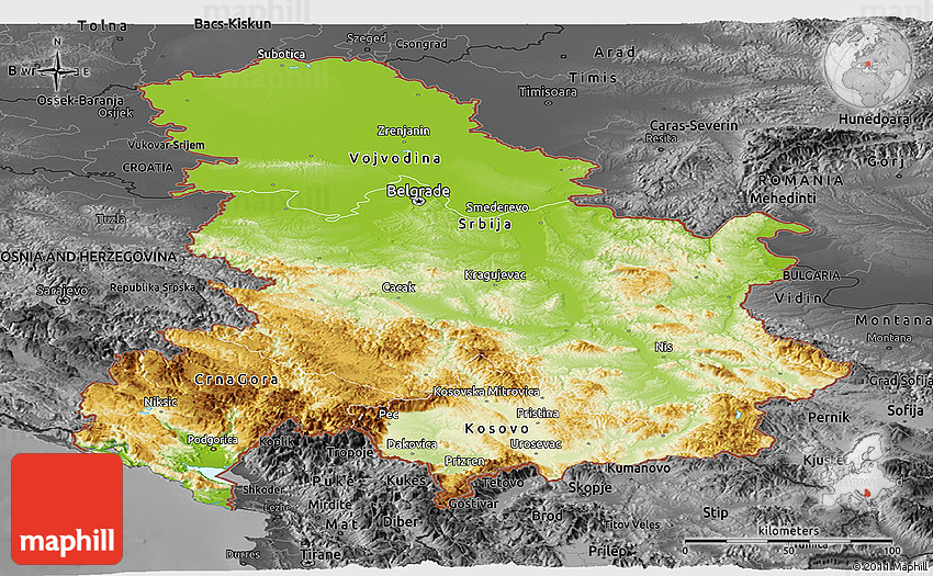Physical Panoramic Map of Serbia and Montenegro darken desaturated