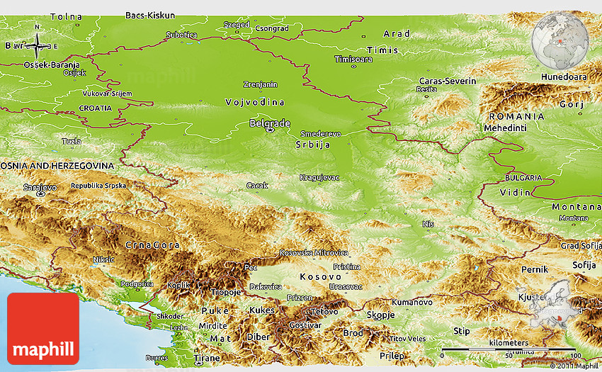 Physical Panoramic Map of Serbia and Montenegro