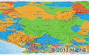 Political Panoramic Map of Serbia and Montenegro