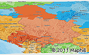 Political Shades Panoramic Map of Serbia and Montenegro