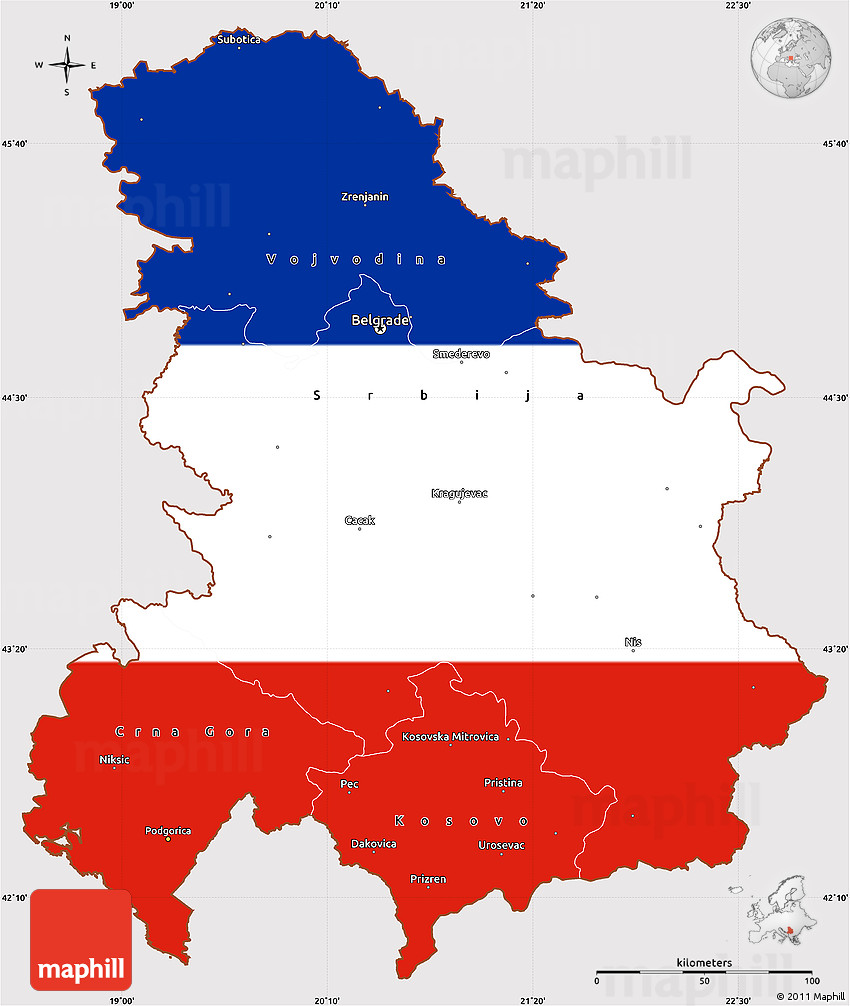 Flag Simple Map Of Serbia And Montenegro