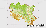 Physical Map of Srbija, cropped outside