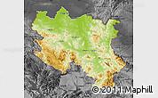 Physical Map of Srbija, darken, desaturated