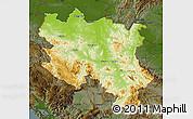 Physical Map of Srbija, darken