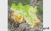 Physical Map of Srbija, darken, semi-desaturated