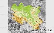 Physical Map of Srbija, desaturated