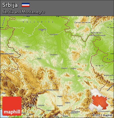 Physical Map of Srbija