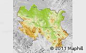 Physical Map of Srbija, lighten, desaturated