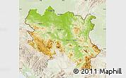 Physical Map of Srbija, lighten