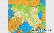 Physical Map of Srbija, political outside