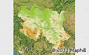 Physical Map of Srbija, satellite outside