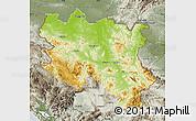 Physical Map of Srbija, semi-desaturated