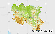 Physical Map of Srbija, single color outside