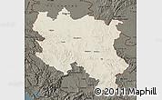 Shaded Relief Map of Srbija, darken