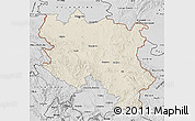 Shaded Relief Map of Srbija, desaturated