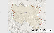 Shaded Relief Map of Srbija, lighten