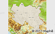 Shaded Relief Map of Srbija, physical outside