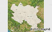 Shaded Relief Map of Srbija, satellite outside