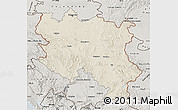 Shaded Relief Map of Srbija, semi-desaturated