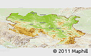 Physical Panoramic Map of Srbija, lighten