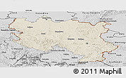 Shaded Relief Panoramic Map of Srbija, desaturated