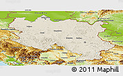 Shaded Relief Panoramic Map of Srbija, physical outside