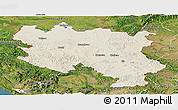 Shaded Relief Panoramic Map of Srbija, satellite outside