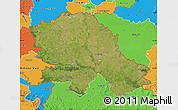 Satellite Map of Vojvodina, political outside