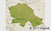 Satellite Map of Vojvodina, shaded relief outside