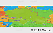 Physical Panoramic Map of Vojvodina, political outside