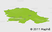 Physical Panoramic Map of Vojvodina, single color outside