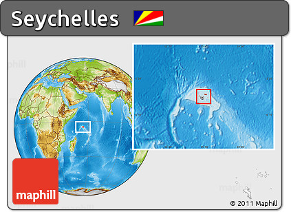 Physical Location Map of Seychelles