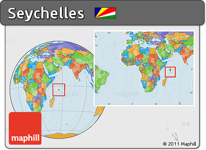 Free Political Location Map of Seychelles within the entire continent