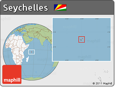 Free Savanna Style Location Map of Seychelles highlighted continent