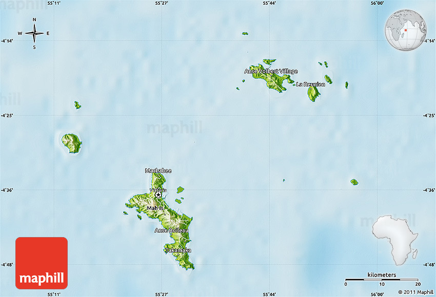 Physical Map Of Seychelles - Seychelles map