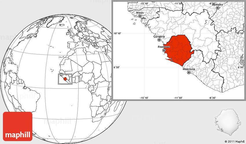 Blank Location Map Of Sierra Leone