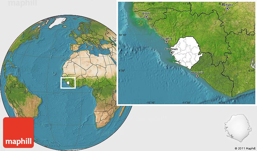 Blank Location Map of Sierra Leone satellite outside