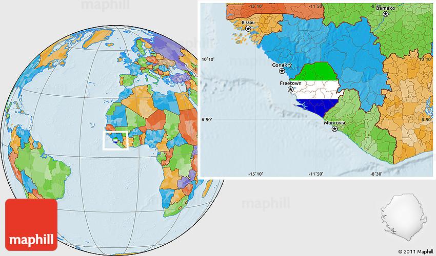 Flag Location Map of Sierra Leone political outside