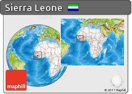 Physical Location Map of Sierra Leone, highlighted continent, within the entire continent