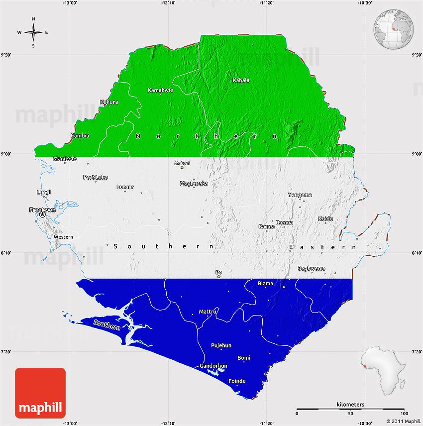Flag Map of Sierra Leone