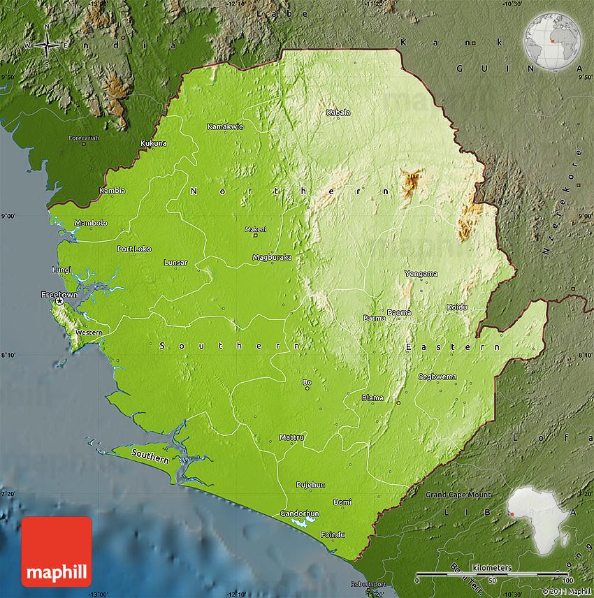 Physical Map of Sierra Leone darken