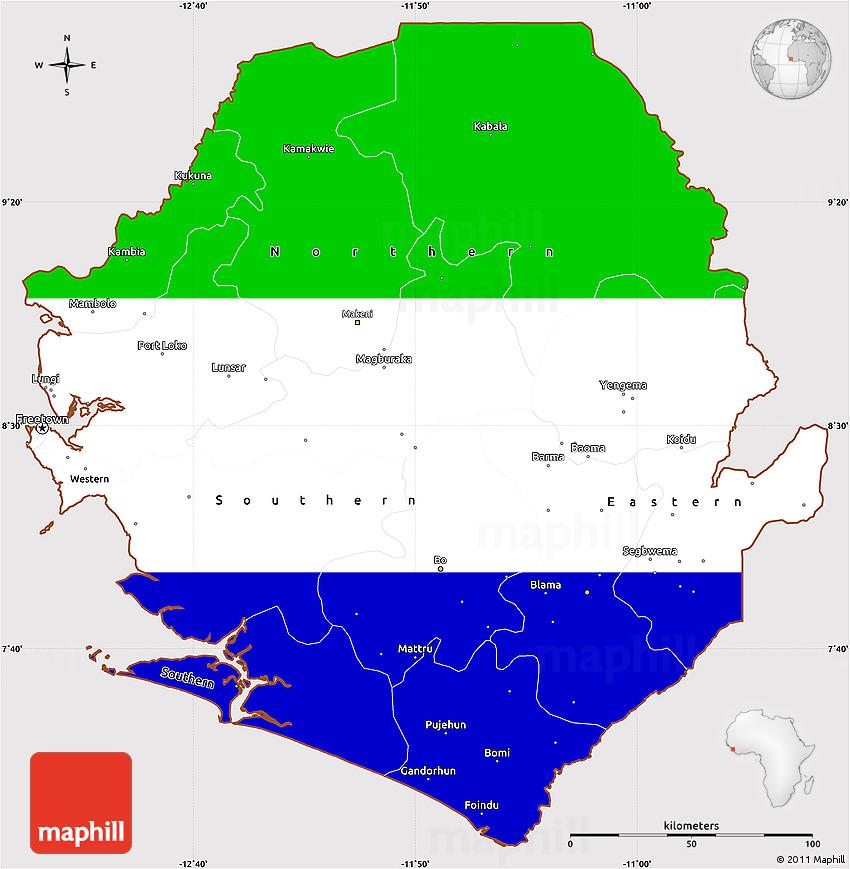 Flag Simple Map Of Sierra Leone - Sierra leone map