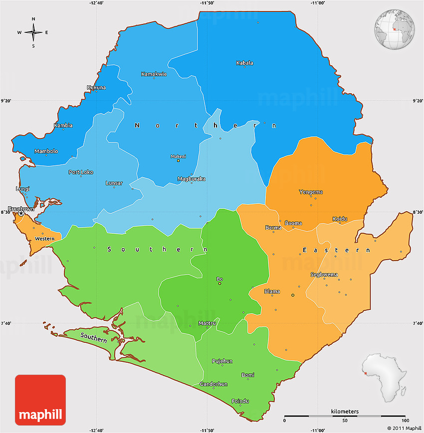 Political Simple Map of Sierra Leone cropped outside