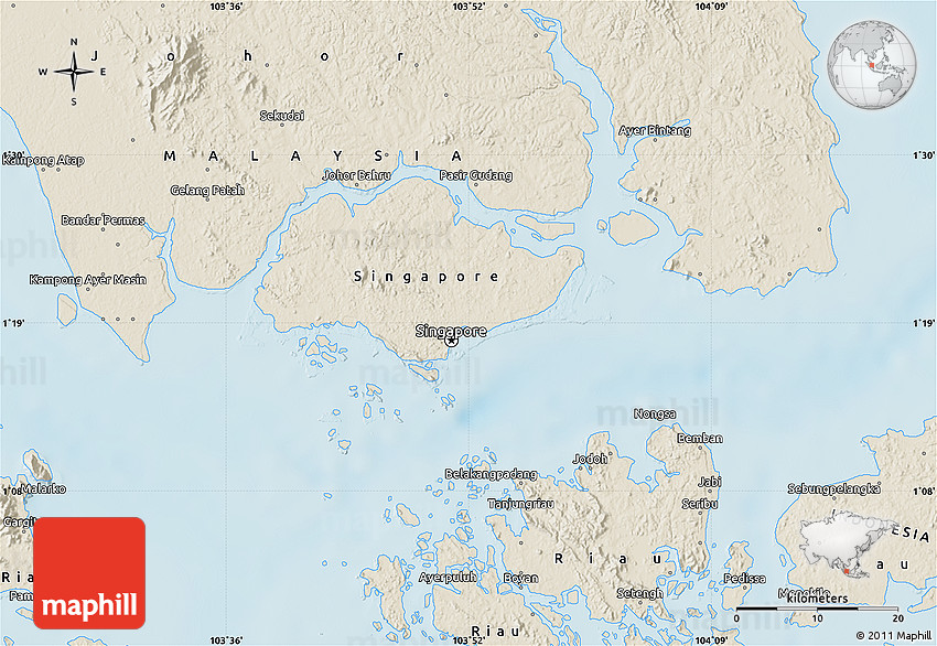 Shaded Relief Map of Singapore